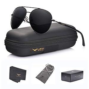 LUENX Men Aviator Sunglasses Polarized Women – UV 400 with case 60MM