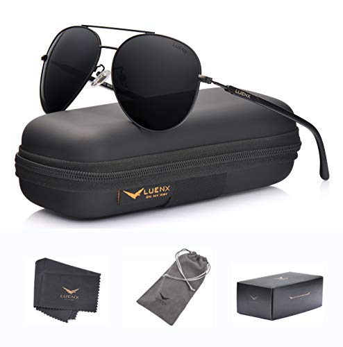 72fe3910ec LUENX Aviator Sunglasses Mens Women Polarized Black Lens Black Metal Frame  Dark 60mm with Case - UV400