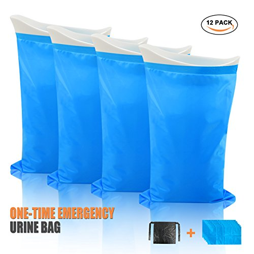 KOONEW Disposable Urine Bags Portable Outdoor Emergency Pee Bags for Kids Men Women,Super Absorbent Urinal Bag for Traveling and Emergency 12 Pcs