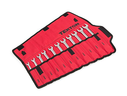 - TEKTON Combination Wrench Set with Roll-up Storage Pouch, Metric, 8 mm - 19 mm, 11-Piece | WRN03389