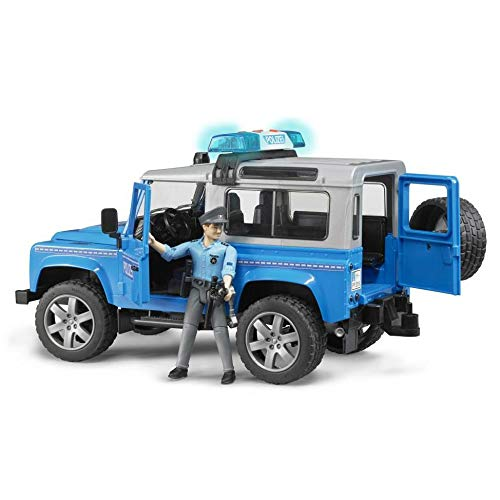 - Bruder Toys Land Rover Police vehicle w light skin policeman