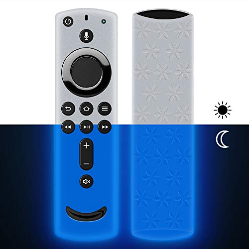 Remote Case/Cover for Fire TV Stick 4K,Protective Silicone Holder Lightweight[Anti Slip]ShockProof for Fire TV Cube/Fire TV(3rd Gen)Compatible with All-New 2nd Gen Alexa Voice Remote Control-Glow Blue