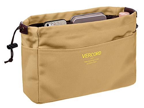 Vercord Canvas Handbag Organizers, Sturdy Purse Insert Organizer Bag in Bag, 13 Pockets 4 Colors Khaki Small