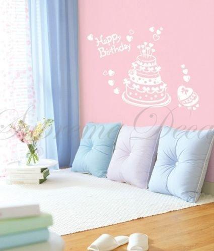 Custom PopDecals - Happy Birthday Cake - Beautiful Tree Wall Decals for Kids Rooms Teen Girls Boys Wallpaper Murals Sticker Wall Stickers Nursery Decor Nursery Decals