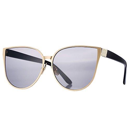 Pro Acme New Women Oversized Metal Frame Mirrored Flat Lens Cat Eye Sunglasses (Black Lens/Gold - New Eye Frames
