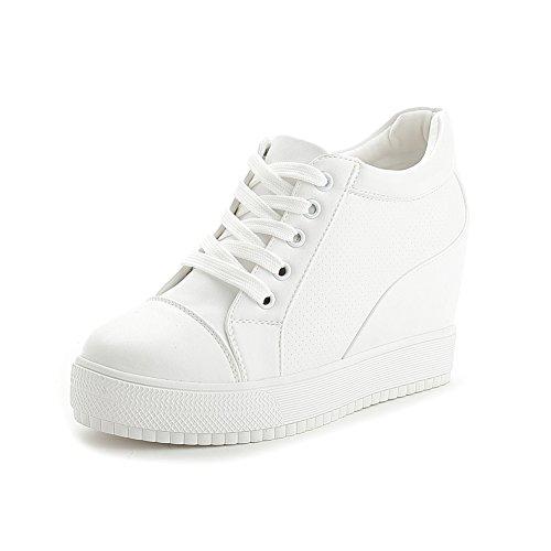 Wig Sleehak Sneaker Voor Dames Ademend Rijgbaar Plateau Atletische Wandelschoenen Wit