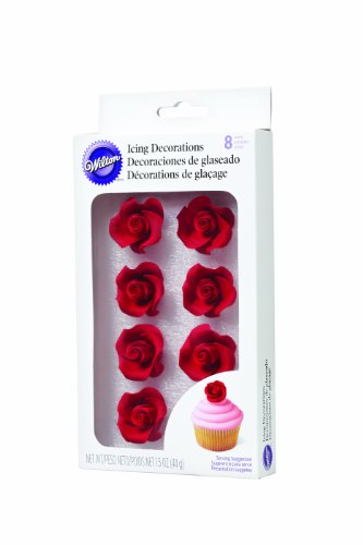 Wilton 710-1491 8-Pack Rose Icing Decorations, Medium, Red