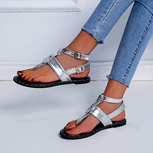 60ebb7da2dc7c Fastbot Women's Summer Sandals Open Toe Casual Comfort Clip-Toe Flat Beach  Shoes Ankle Buckle Roman Silver