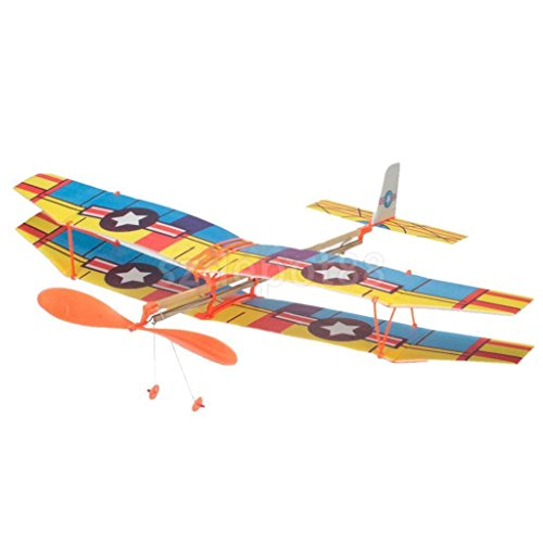 Yellow Rubber Band Powered Glider biplane Aircraft Kit Flying Model Kids Toy