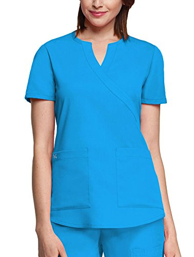 (NRG by Barco Uniforms Women's Mock Wrap Solid Scrub Top XXXXX-Large Turquoise)