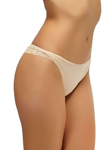 Felina Charming Lace Back Modal Thong | Bare | Medium