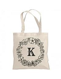 Cute Initial K Floral Gift: Liberty Bags Canvas Bargain Tote Bag