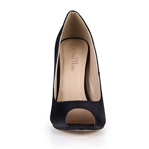 DolphinGirl Women Fashion Glitter Peep Toe High Heels D'Orsay Pump Stiletto SM00190 Silk Black me1jA