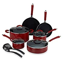 Millennium Red Nonstick Coated Porcelain Enameled Aluminum 12-Piece Cookware Set