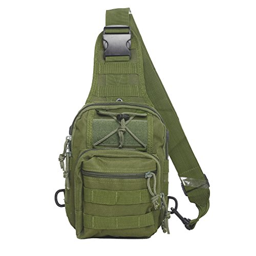 Kenny Walker Tactical Sling Bag Cross Body Chest Rucksack Military Shoulder Pack EDC Molle Fly Fishing Packs for IPad Mini Nylon Outdoor Camping Hiking Trekking Travel Daypack (Olive Green)