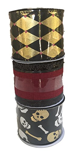 Gold and Black Diamond Design Skull and Bone and Red Velvet Bundle of Three Halloween Themed Ribbons -