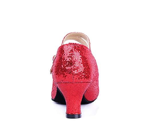 CHENYANG Damen Standard Dance Ausgestelltes Sandalen Latein Mädchen Ballsaal Tanzschuhe amp; Schuhe Rot rrwZAcRzqd