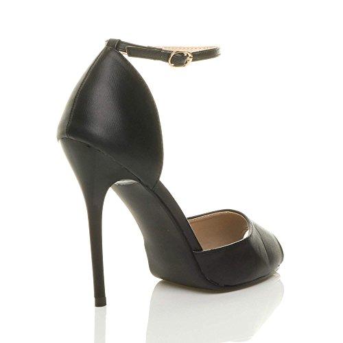 Matte Black Size Women Shoes Heel High Ajvani Peep Pumps Toe Court aHSnTq