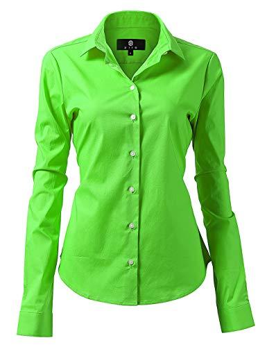 diig Women Dress Shirt - Long Sleeve Cotton Button Down Blouse, Light Green 12