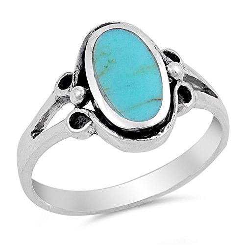(Oval Bezel Set Simulated Turquoise Split Shank Design Ring 925 Sterling Silver Size 9 )