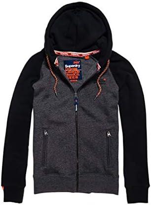 Black Superdry Men/'s Orange Label Raglan Zip Hoodie