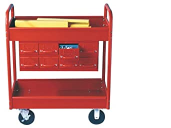 """Equipto 145-8-RD Combination Truck with 2 Trays, 500lbs Capacity, 11"""" Drawers, 30"""" L x 16"""" W x 36"""" H, Textured Red"""