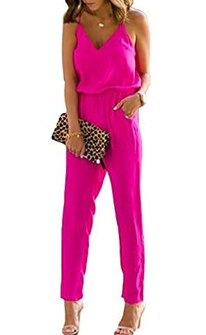 Women's Casual V Neck Sleeveless Spaghetti Strap Jumpsuit Long Pants (S, Rose Red)