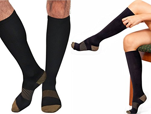 Copper Compression Gear PREMIUM Knee High Socks - 100% GUARANTEED- #1 Copper Recovery Support Socks for Calf or Shin Splints, Swollen Feet, Running/Support Stabilizer For Men And Women (Size 9.5-12)
