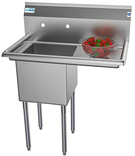 (KoolMore 1 Compartment Stainless Steel NSF Commercial Kitchen Prep & Utility Sink with Drainboard - Bowl Size 15