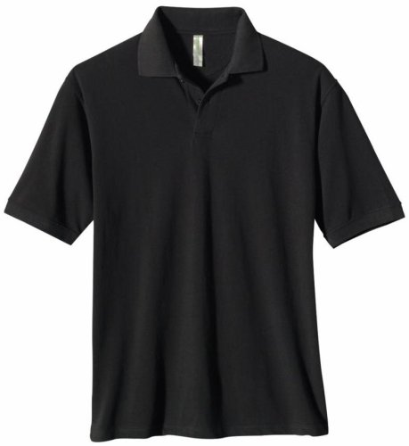 econscious Men's 100% Organic Cotton Pique Polo Shirt (Black, (Mens 100 Pique Polo)