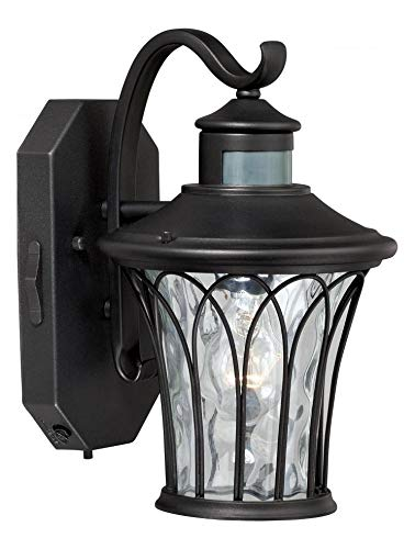Textured Black Abigail 1 Light 8 inches Wide Outdoor Wall Sconce with Motion Sensor Included