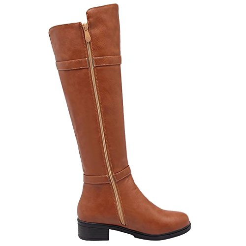 AIYOUMEI Damen Winter Blockabsatz Chunky Heel Kniehohe Stiefel mit Schnalle und Nieten Bequem Modern Knee High Boots Braun