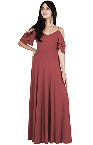 Viris Zamara Womens Long V-Neck Short Sleeve Flowy Sexy Cold Shoulder Evening Cute Formal Cocktail Party Bridesmaid Wedding Party Dressy Gown Gowns Maxi Dress Dresses, Rose Pink M 8-10