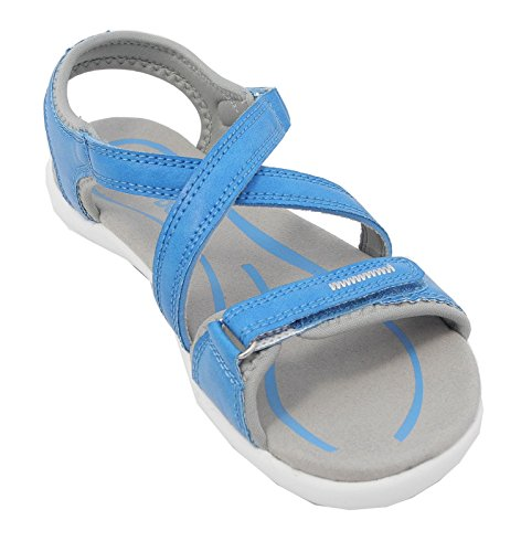 Womens Ladies Sports Sandals Velcro PDQ Cushioned Hiking Trail Shoes Blue 3 4 5 6 7 8 Light Blue ngB705NU