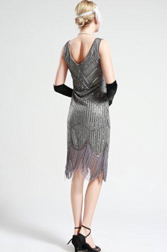 V Babeyond Robe Gris Bal Manche Déco Noir Sans Tango Frangée Pour 1920 Cou Fête Costume Paillette Art Femme Flapper Soirée Latine Gatsby 29EDHIW