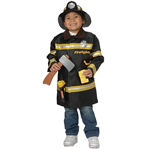Career Outfit Firefighter Dress Up with Coat, Helmet and Accessories