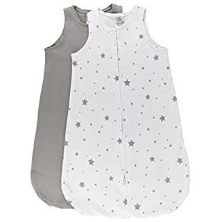 Ely's & Co. 100% Cotton Wearable Blanket Baby Sleep Bag 2 Pack Grey Stars 3-6 Months