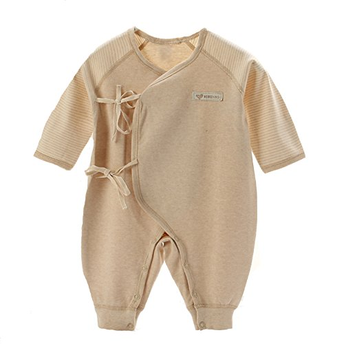 Gloved Sleeve Overall - Fairy Baby Unisex Baby Organic Cotton Kimono StripeLong Sleeve Overall,0-3M,Brown