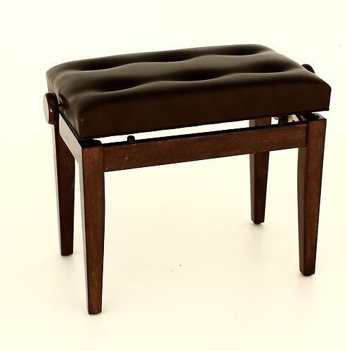 Prima Piano Bench with Cushioned Seat and Adjustable Height - Polished Walnut
