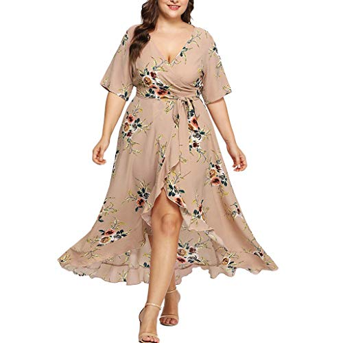 (Women Short Sleeve Plus Size Dress V-Neck Floral Boho Maxi Long Dress Khaki)