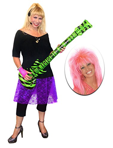 Rocker Chick Purple Lace Plus Size Supersize Halloween Costume Deluxe Pink Wig Kit 9x]()