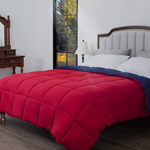 HOS LINENS Down Alternative Comforter,Lightweight Comforter All Season Comforter,Hypoallergenic,Machine Washable Red/Navy Queen/86X86