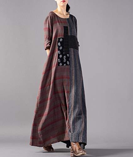 Plaid Stripe Long YESNO Pleated Dress Spliced Front Back Sleeve as Loose Split Linen Picture1 Jex Long JCA Pockets 100 Women Maxi wCSwZ8xzq