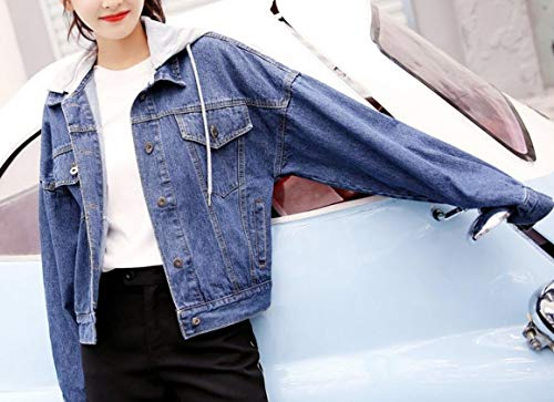 Cups Dark XINHEO Denim Collar Down Womens Turn Winter Fall Removable Blue Jackets qqvWOU6nS