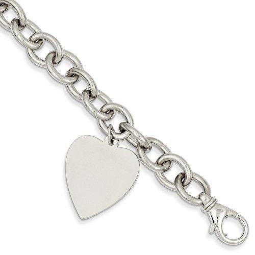 Jewel Tie 14k White Gold Big Heavy Link with Heart Pendant Charm Bracelet (19mm) - 14k Heavy Charm Bracelet
