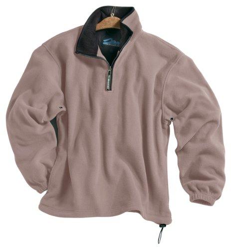 Tri-Mountain Escape Micro-Fleece Quarter-Zip Pullover, 4XL, Oatmeal / Black -