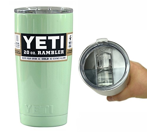 YETI Coolers 20 Ounce (20oz) (20 oz) Custom Rambler Tumbler Cup Mug with Exclusive Spill Resistant Lid and Bottle Opener Keychain (Mint Green)