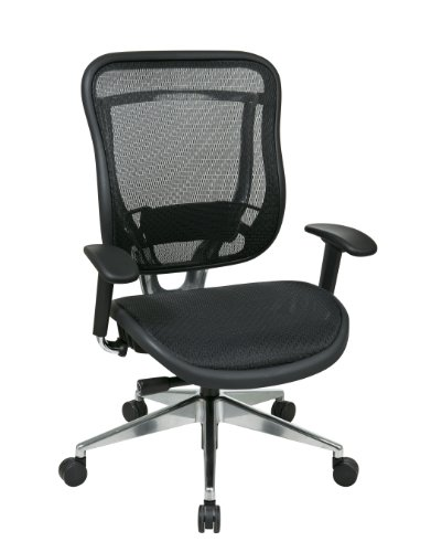 SPACE Seating Breathable Mesh High Back and Seat, Ultra 2-to-1 Synchro Tilt Control, Seat Sliderl and Polished Aluminum Finish Executive Chair (Deluxe Synchro Tilt Mesh)