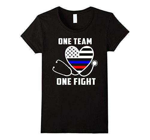 Fight Team T-shirt (Women's ONE TEAM ONE FIGHT - NURSE SUPPORT POLICE & FIREFIGHTER SHIR XL Black)
