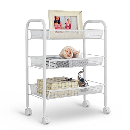 Rackaphile 3-Tier Metal Mesh Rolling Cart Trolly Organizer Shelves Handle Portable Utility, Easy Moving
